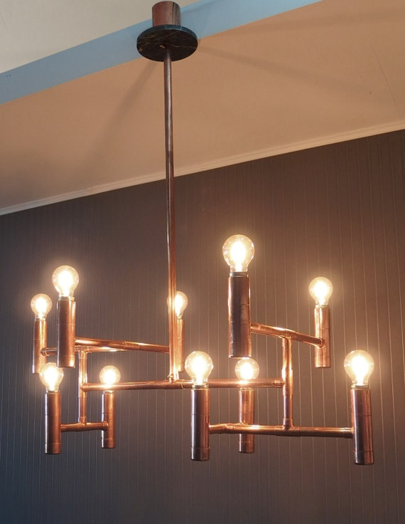 Vintage Industrial Copper Pipe Chandelier Elegant Dining