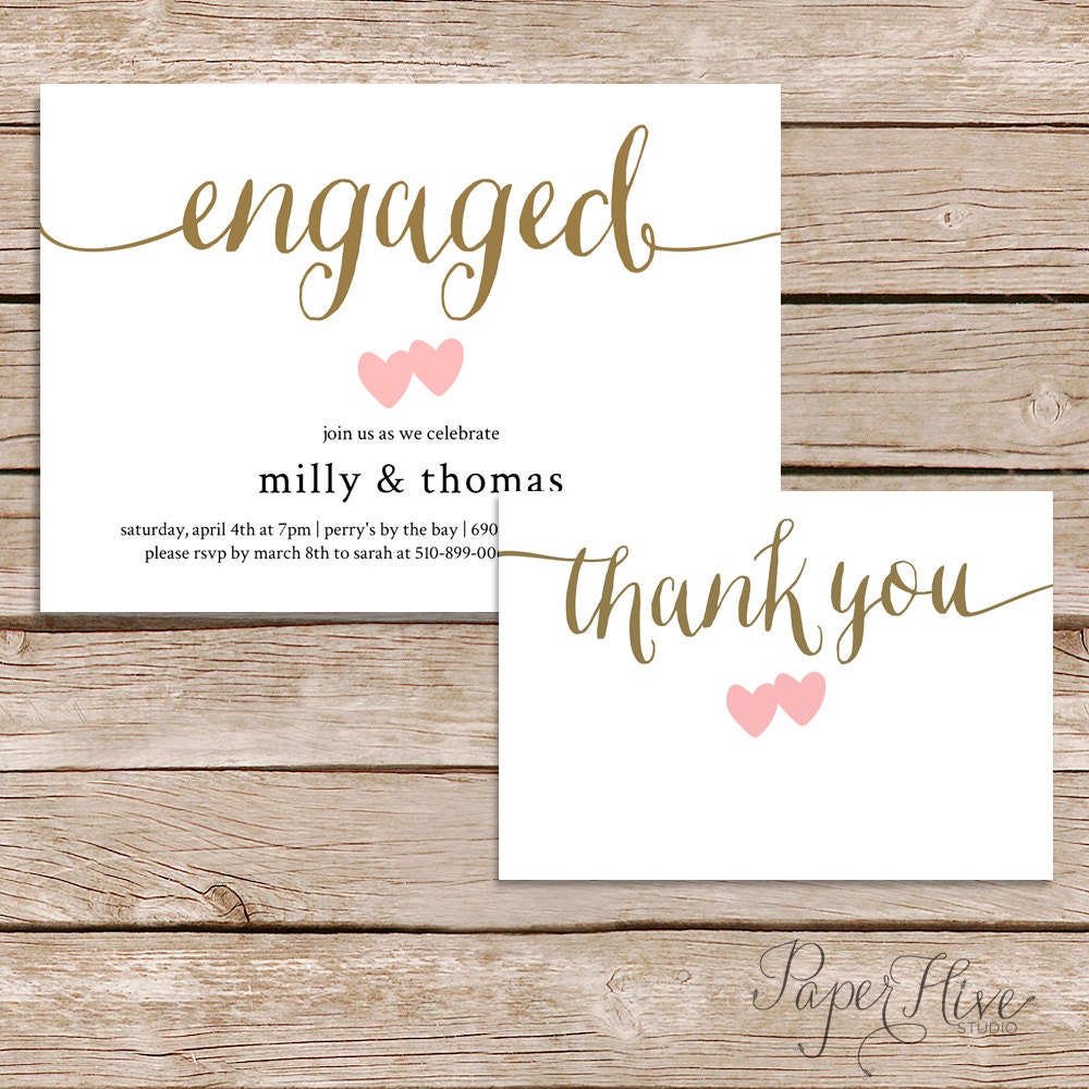 Printable engagement party invitation and thank you card set zoom monicamarmolfo Images