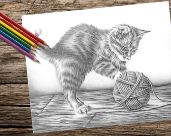 Coloring for adults, Printable coloring page, Adult Coloring Page, Instant download coloring, Kitten and Yarn, cat, coloring book for adult