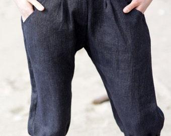 100% linen pants | Drop Crotch pants | Natural capri trousers | Eco friendly | Under knees pants | Soft linen | Handmade | Limited edition
