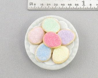Dollhouse Miniature 6  Easter Egg Sugar Cookies on Plate