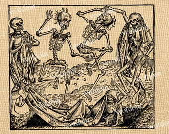 Dancing Skeletons Halloween Danse Dance Morbid Oddity Macabre Instant Download Printable Image Transfer