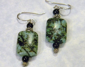 Green Turquoise, Onyx and Bali Silver Earrings