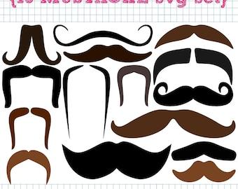 15 Mustache SVG DXF cut files