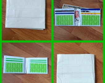 White and Green Duct Tape Wallet
