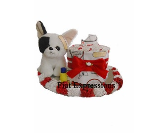 Nurse Mini Diaper Cake with Dog Baby Shower Gift or Centerpiece