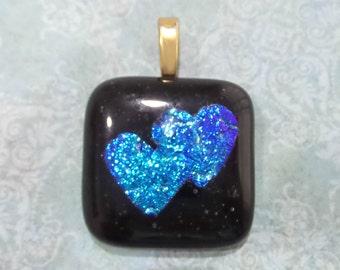 Double Heart Pendant, Dichroic Omega Slide, Glass Fusing Jewelry, Sweetheart - American Blue Hearts - 2989 -5