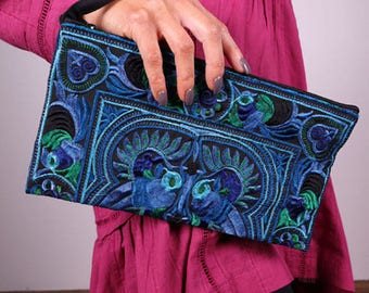 Hand-Made Embroidered Accessory Case / Bag for Knitting or Travel by Plymouth Yarn Company - AQUA