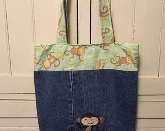 Monkey Market Bag, Monkey, Monkey Tote, Denim Bag, Handmade, Market Bag, Tote