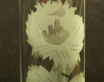 Small Elegant Etched Cylinder Vase, Glass Bud Vase, Mid Century