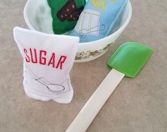 Pretend Food - Felt Food - Play Food - Felt Baking Mix - Felt Play Sugar - Felt Baking Mix Set - Play Food Set - Pretend Play Food