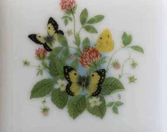 Fused glass coaster with yellow butterflies
