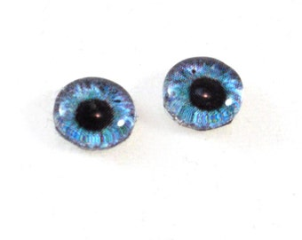 8mm Teal and Purple Steampunk Glass Eye Cabochons - Taxidermy Eyes for Doll or Jewelry Making - Set of 2