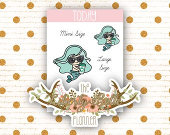 Cute Kawaii Mermaid Coffee Functional Stickers for Erin Condren, Plum Paper, Recollections, and Happy Planner Planners (063)
