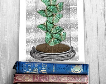 Home office decor - Green Butterflies in Bell Jar - Office decor ideas Butterfly wall art Gift ideas for mom Canvas wall decor Cute gift