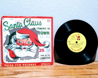 Vintage 1955 Santa Claus is Coming to Town Record With Original Cover