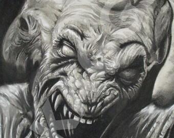 Pumpkinhead print of original charcoal drawing