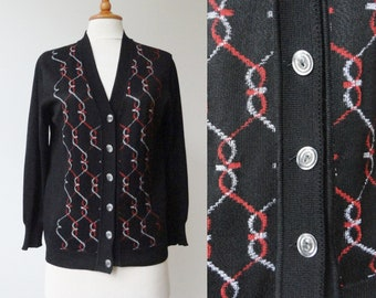 Black 60s Vintage Cardigan With Red White Print // Size M