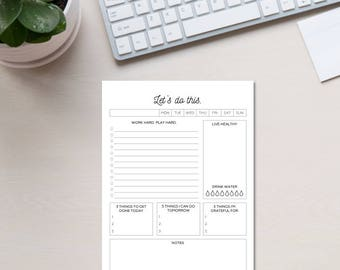 """Daily Planner """"3 Things"""" To Do List (DIGITAL DOWNLOAD)"""