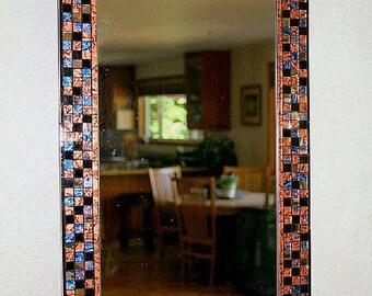 "Contemporary ""Copper Lights"" Mosaic Mirror"