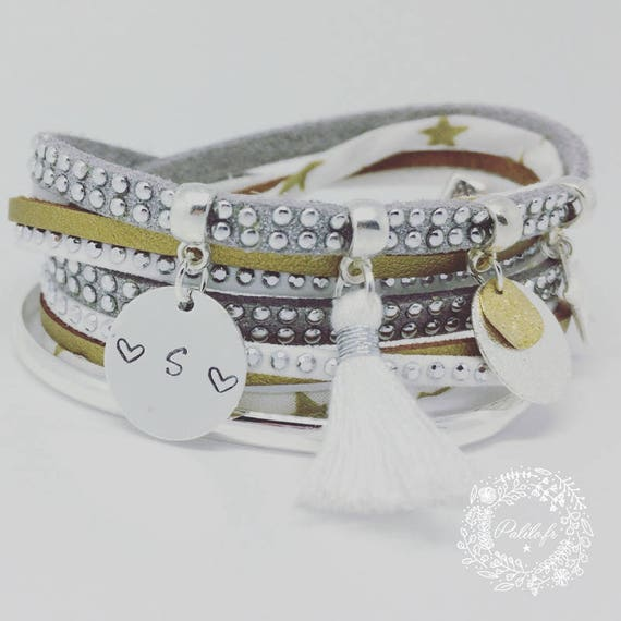 "Personalised Liberty bracelet multi-row ""Silver & Gold"" with personalized engraving by Palilo jewelry"
