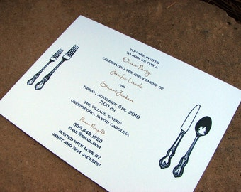 Rehearsal Dinner Party Invitation Fancy Personalized Silverware Invitation