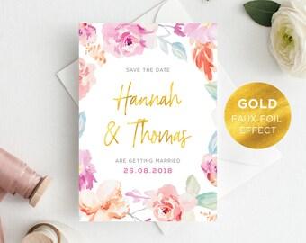 Printable Save The Date | Wedding Announcement | Watercolour | Floral | Gold Faux Foil | PDF | Download | Custom | Hannah suite #057