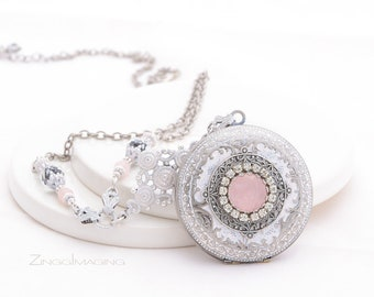 Victorian Wedding Locket Necklace Rose Quartz, Rhinestones, Silver & Rose Quartz Engagement Ring Locket, Gentle Patina light Rose Locket