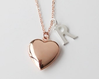 locket necklace, rose gold heart Locket Necklace, mother of the bride gift for mom, Valentine's Day gift, Mother's Day gift, Bridesmaid Gift