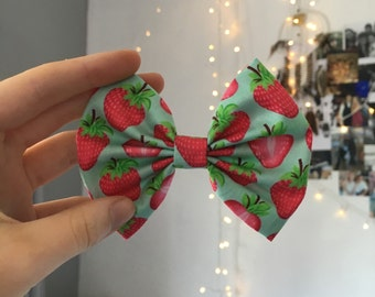 Blue Strawberry Bow