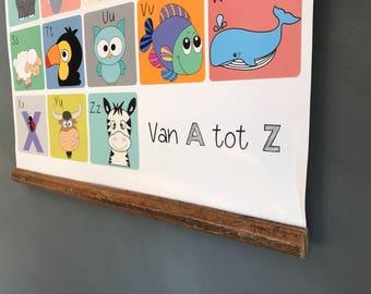 Dieren Alfabet A2 Poster - ABC - Dieren - Diertjes - Kinder - Baby kamer - Muurposter - Leuk, origineel cadeau - Animal Alphabet Poster