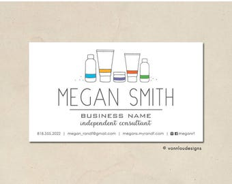 printable - skin care business cards - mommy calling cards - original hand illustrated bottles - personalized - small business - DIY custom