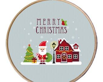 cross stitch christmas ornaments, modern Christmas cross stitch, Merry Christmas, Santa cross stitch pattern, easy cross stitch