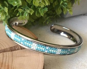 Silver galvanized brass bangle bracelet and woven glass beads in shades of turquoise blue, mint green and white / Cuff bracelet/ Mom's gift