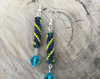 Blue metallic with yellow diagonal stripes dangle earrings, bead woven with blue crystals and silver plated hooks