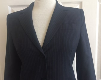 LAUNDRY Shelli Segal Blazer Jacket / Equestrian Blue Pinstripe Fitted / Career Office Professional  / 90s Vintage Size 8 USA