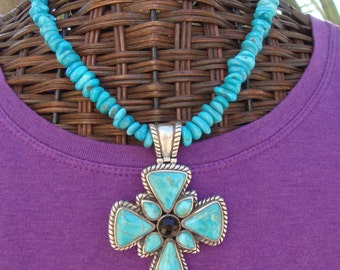 Sleeping Beauty Turquoise Necklace, Sterling Silver Turquoise Cross Pendant, Barse Cross Pendant, Southwestern Jewelry, Statement Necklace