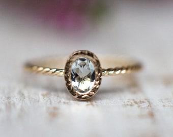 Gold Aquamarine Ring, Engagement Ring,  March birthstone, Blue Gemstone Ring, Unique Engagement Ring, Anniversary Ring