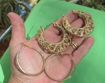 Lot Of Retro Metal Hoop Earrings TLC