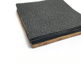Set of 6 | Black Leather Coasters