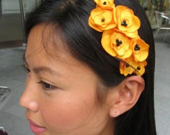 SUMMERTIME - Little Miss Sunshine Cheery Saffron Yellow Flower Headband