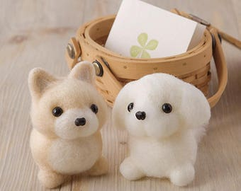 DIY Hamanaka handmade Wool Felt kit Pomeranian & Martinez (Can make 2) -  Japanese kit package