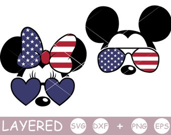 Mickey SVG, Minnie svg, Mouse, Sunglasses, USA Flag, layered SVG, Disney Shirt, Cricut Silhouette, cut file, Dxf, Png, July 4th, Vinyl Decal