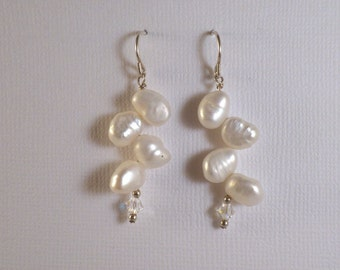 Sterling silver and freshwater leaf pearl earrings