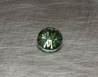 Moissanite Fancy Blue Green Modern Round Bar Cut Loose Faceted Gemstone