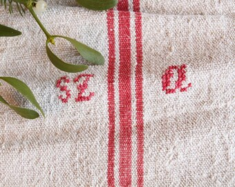 F 90: antique grainsack FADED CHERRY RED, monogram, holiday feeling pillow cushion  45.67 long, upholstery project, vintage, do it yourself