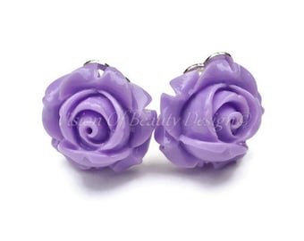 Purple Rose, Spring Flower Clip On Earrings