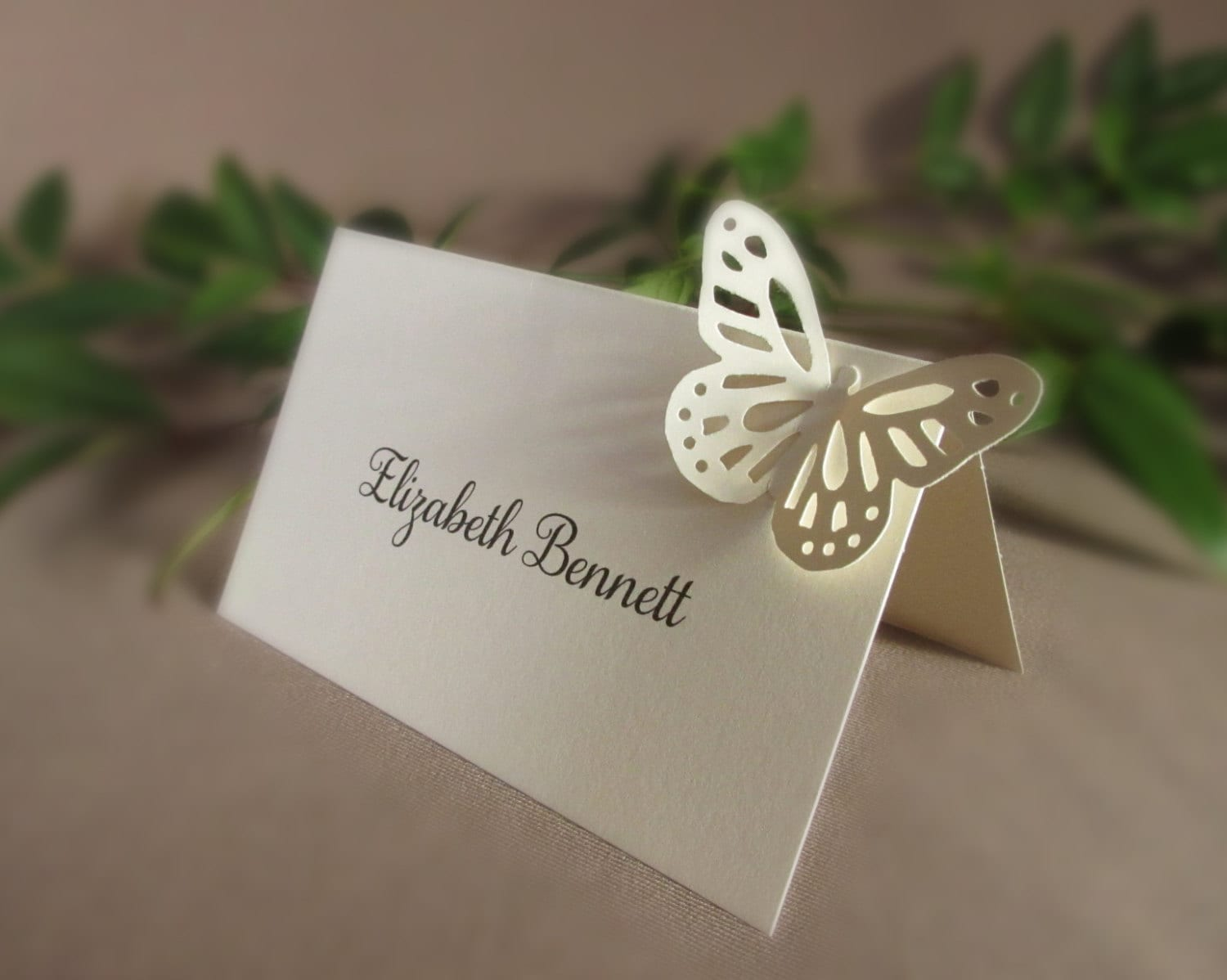 Blank butterfly place cards wedding tent style 3d escort for Place card for wedding