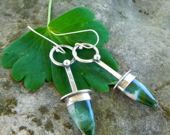 Ocean Jasper earrings | stone point earrings | Natural stone earrings | sterling silver metalwork | Green gemstone drop earrings | Artisan