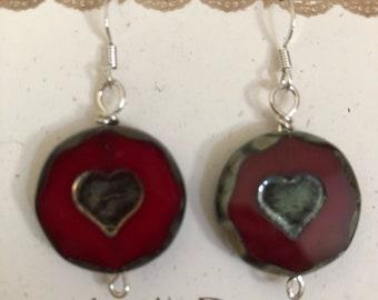 Red Heart Stone Earrings